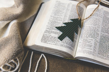 Christmas tree ornament on the pages of a Bible