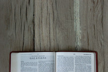 A Bible opened to Galatians