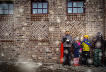 kids waiting outdoors in winter
