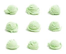 scoops of green ice cream