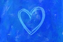 teal heart on blue