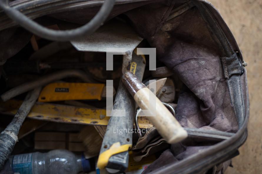 messy tool bag