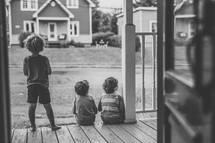 children on a front porch