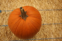Pumpkin sitting on hay bale.