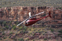 Helicopter flying over Grand Canyon
