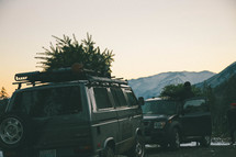 Christmas trees on the tops of vehicles
