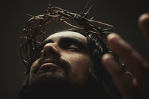 Jesus praying to the Father with crown of thorns