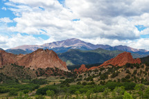 Pikes Peak and Garden of the Gods on a summer day