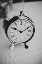 A silver clock