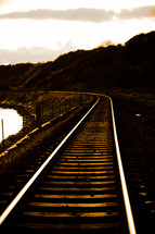 railroad tracks around curve