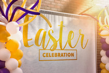 Easter Resurrection Sunday graphic banner and decorations