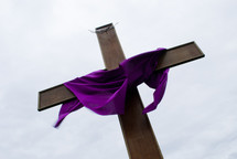 purple shroud over a cross