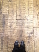 Shoes on wood floor