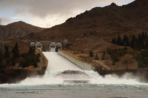 water flowing from a dam