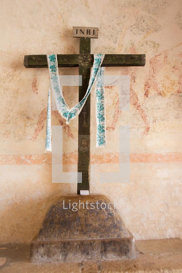 cross in an old church