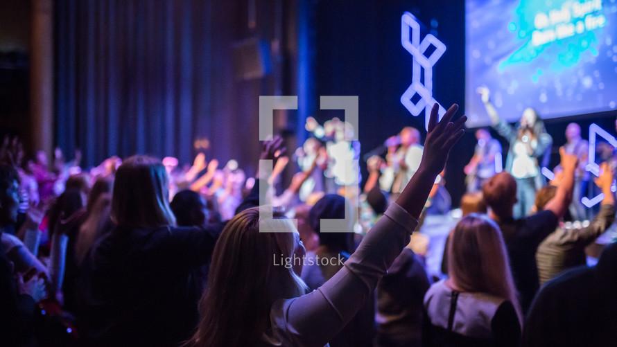 raised hands, worship service, worship, congregation, church