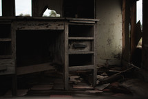 a broken desk