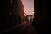 brick alley at dusk