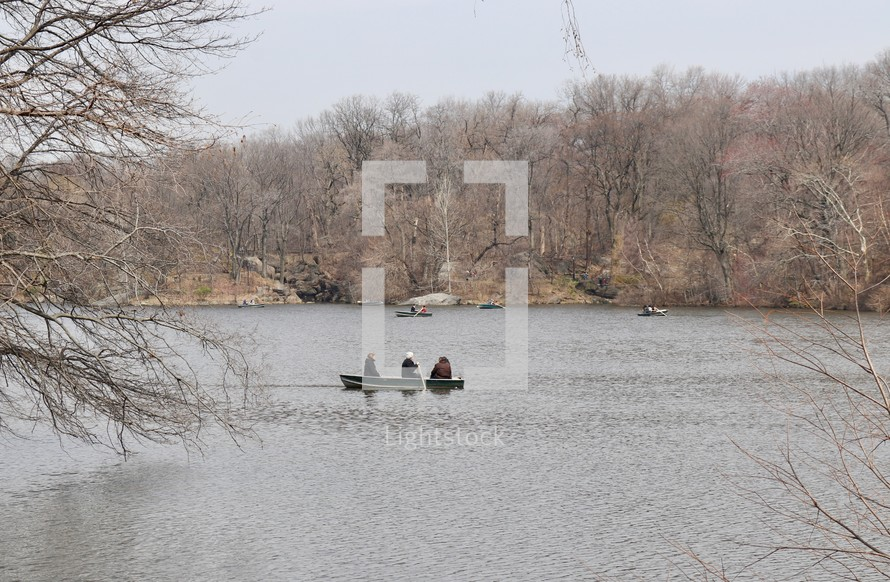 paddling boats in early spring in Central Park