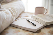 bed, journal, pen, open Bible, pages, Bible, floral, fabric