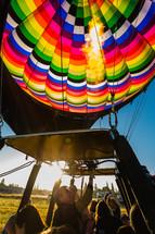 flames under at hot air balloon