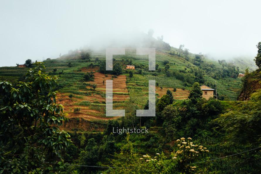 terraced land on hills in Hetauda