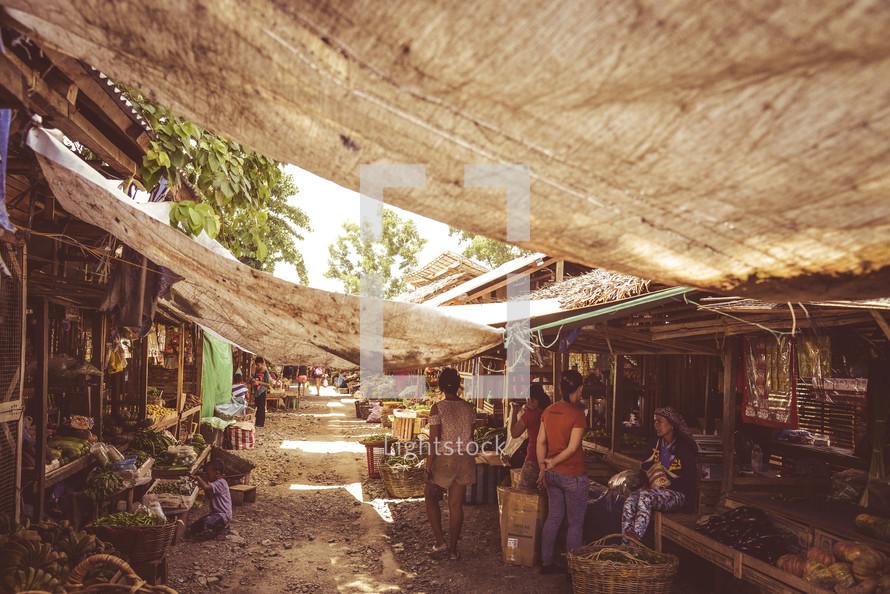 Philippines, street market, market, shade, venders