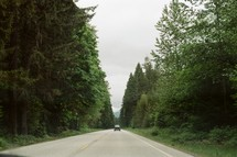 A single car driving down a highway between trees.