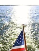 American flag on a boat stern