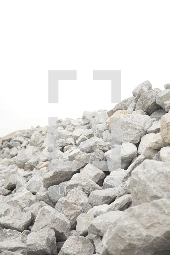 Large Pile of Grey Boulder Rocks
