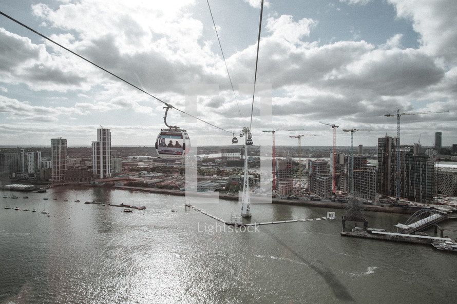 sky cable cars over the river in London