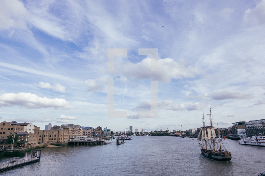 ship sailing on the river Thames