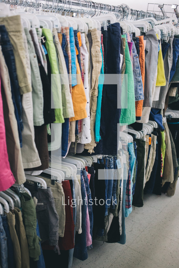 shorts, rack, clothes rack, clothes, store, second hand, thrift store, resale