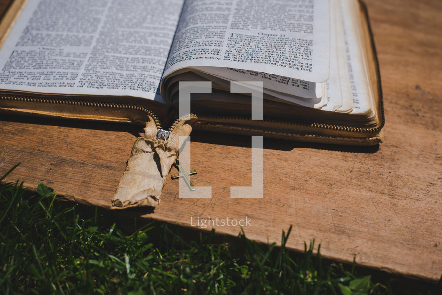 open Bible and cross bookmark