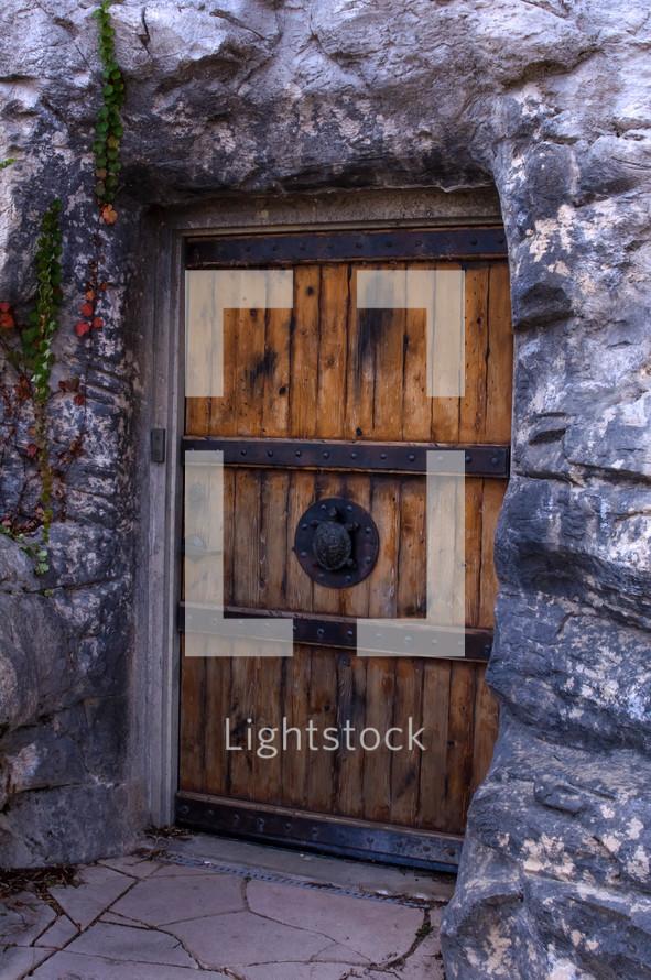 iron and wood door