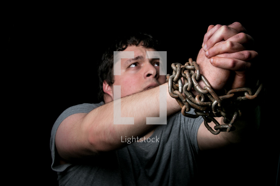 a man in chains