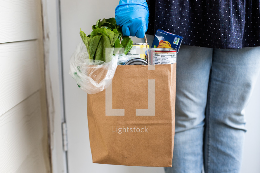 delivered groceries at a front door