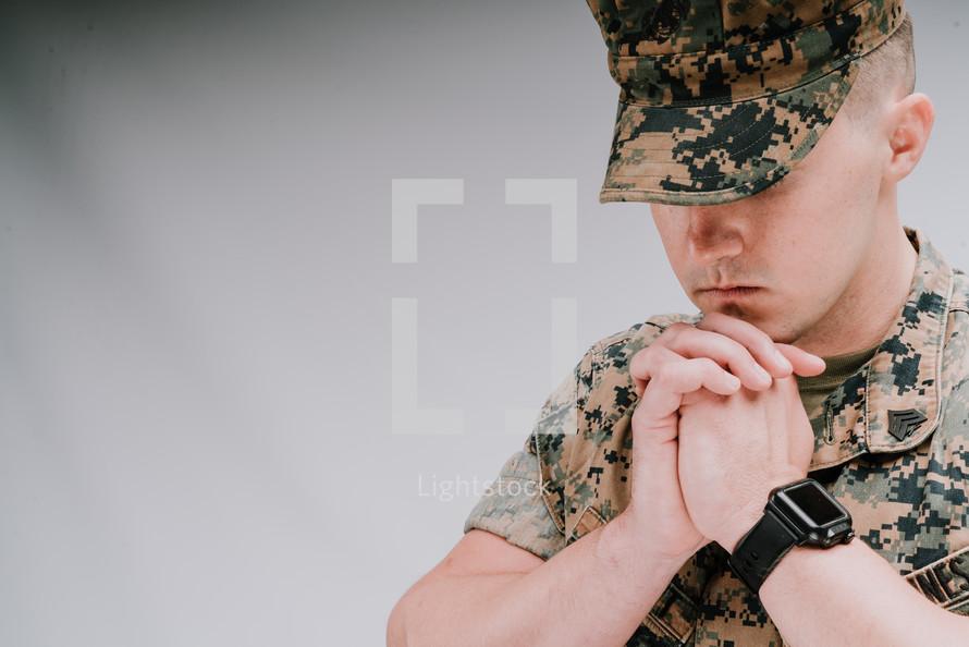 a praying soldier