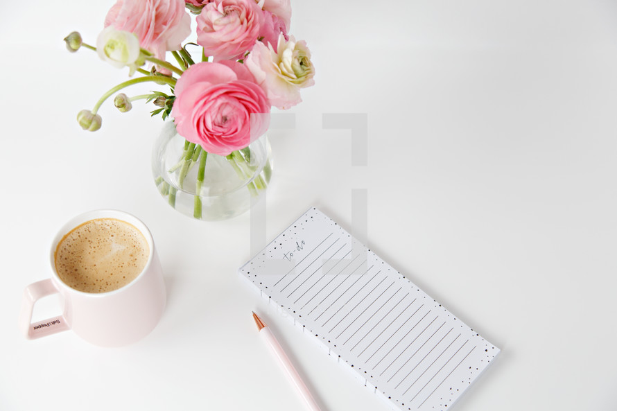 Pink flowers to do list and coffee photo by fempreneur styled pink flowers to do list and coffee mightylinksfo