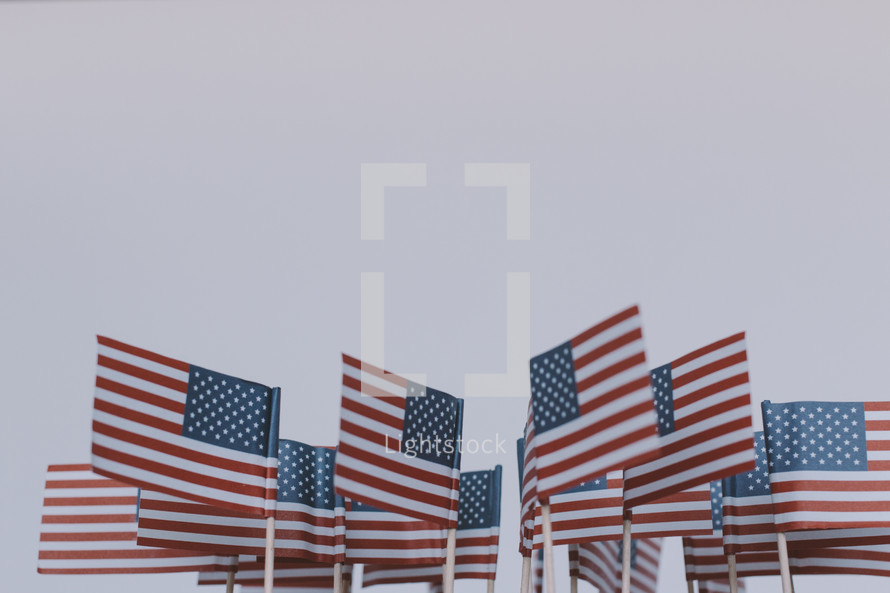 A group of small American flags.