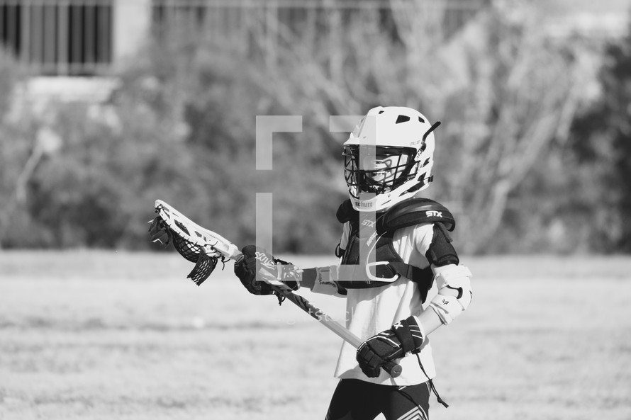 player on a youth Lacrosse team