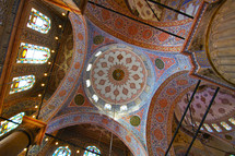 detailed rotunda in a muslim mosque