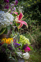outdoor flower arrangement
