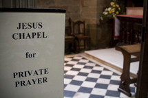 chapel sign for private prayer
