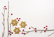 star, Christmas, cookies, sticks, background, red berries, border, holidays