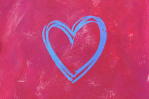 teal heart on pink