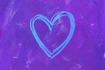 blue heart on purple
