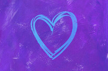 blue heart on purple