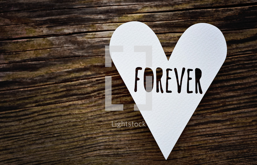 word Forever on a heart