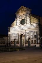 Basilica of Santa Maria Novella at night.  Florence, Italy.